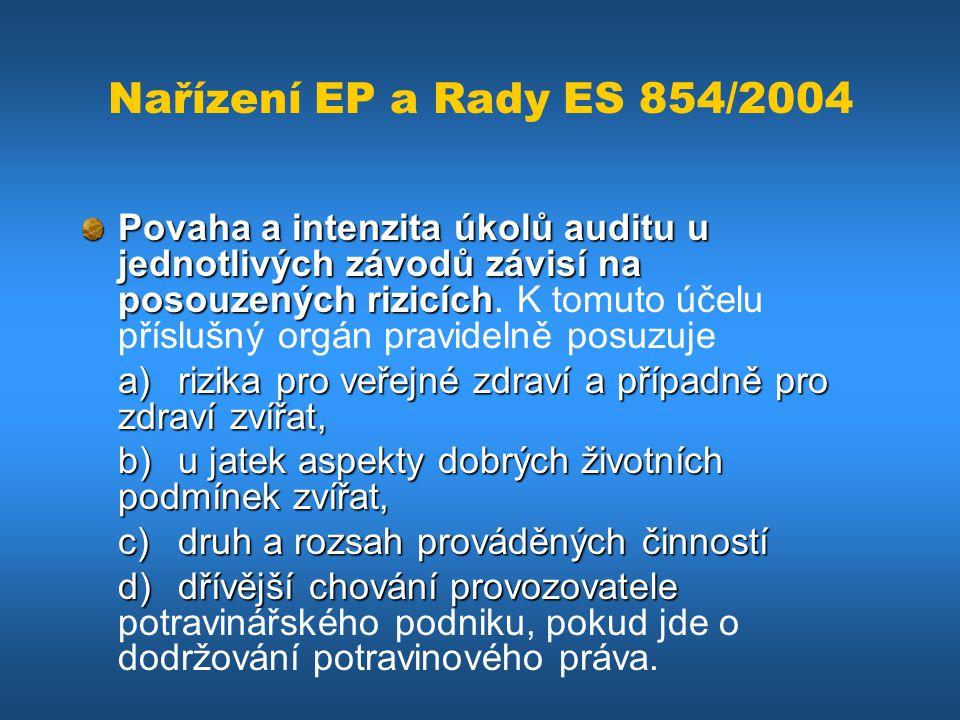 Nařízení EP a Rady ES 854/2004 Povaha a intenzita úkolů auditu u jednotlivých závodů závisí na posouzených rizicích Povaha a intenzita úkolů auditu u