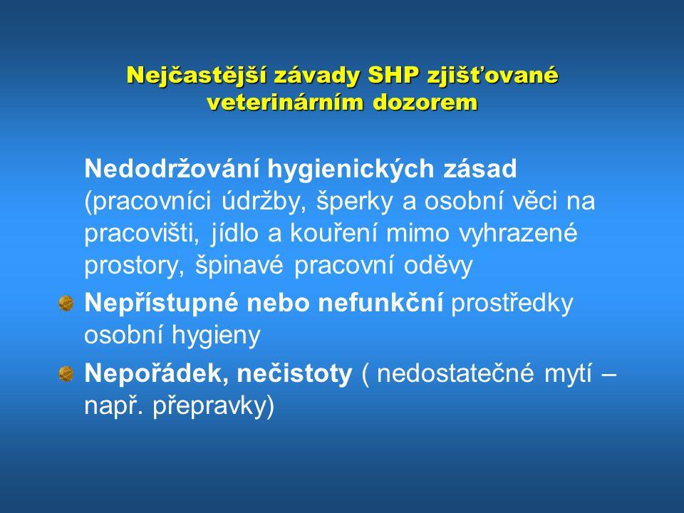 Nejčastější závady SHP zjišťované veterinárním dozorem Nedodržování hygienických zásad (pracovníci údržby, šperky a osobní věci na pracovišti, jídlo a