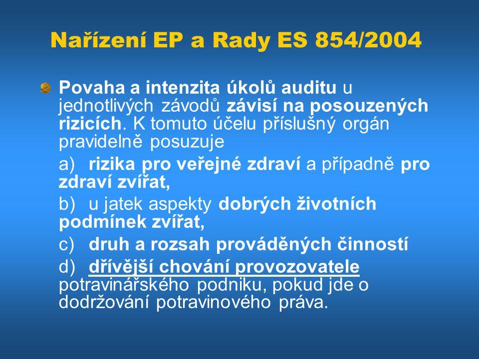 Nařízení EP a Rady ES 854/2004 Povaha a intenzita úkolů auditu u jednotlivých závodů závisí na posouzených rizicích. K tomuto účelu příslušný orgán pr