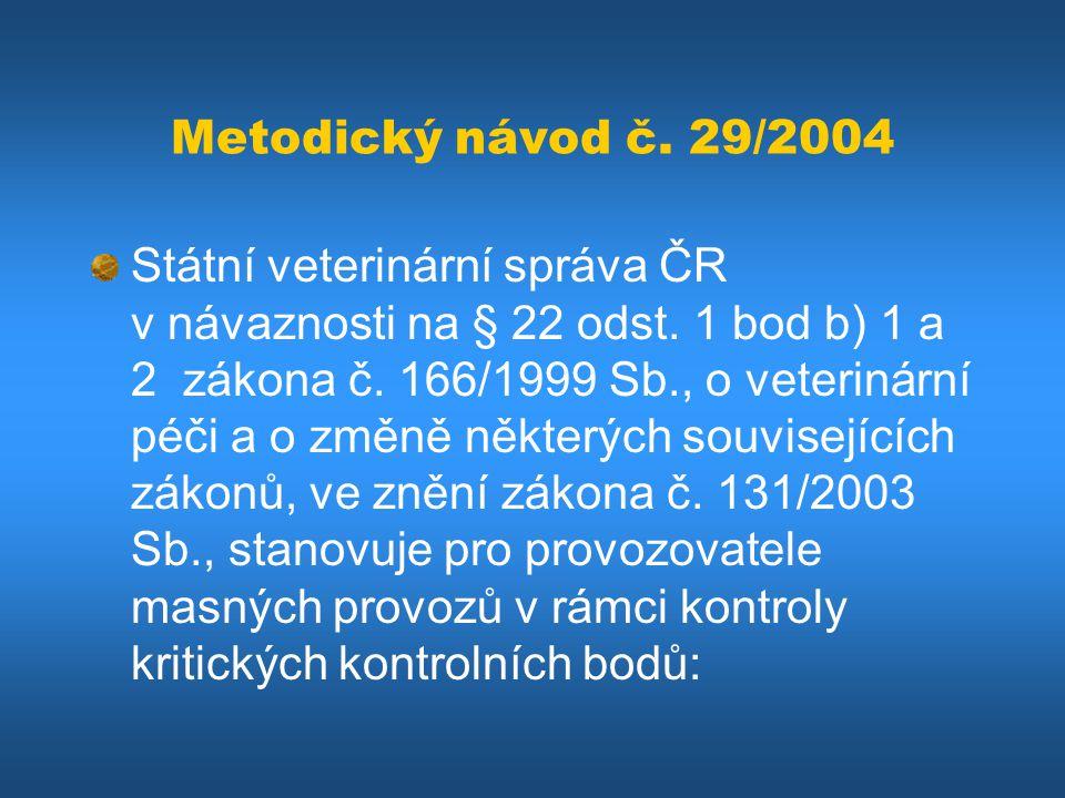 Metodický návod č. 29/2004 Státní veterinární správa ČR v návaznosti na § 22 odst. 1 bod b) 1 a 2 zákona č. 166/1999 Sb., o veterinární péči a o změně