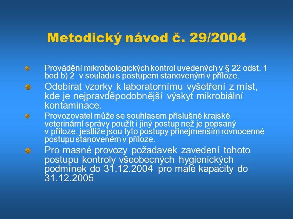 Metodický návod č. 29/2004 Provádění mikrobiologických kontrol uvedených v § 22 odst. 1 bod b) 2 v souladu s postupem stanoveným v příloze. Odebírat v