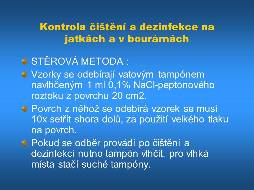 Kontrola čištění a dezinfekce na jatkách a v bourárnách STĚROVÁ METODA : Vzorky se odebírají vatovým tampónem navlhčeným 1 ml 0,1% NaCl-peptonového ro