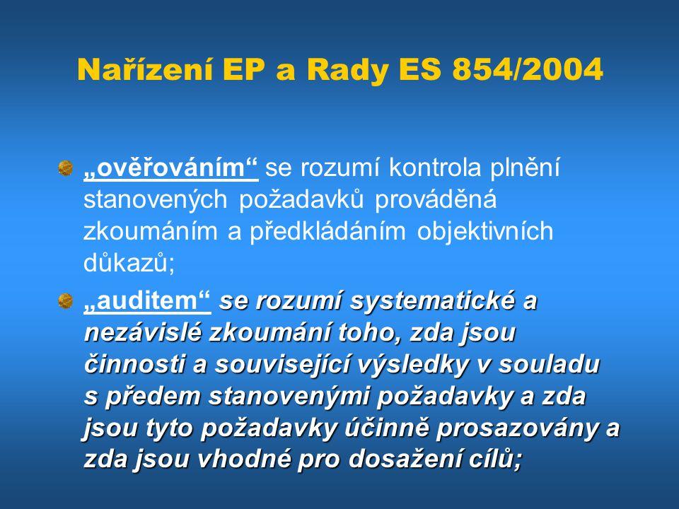 """Nařízení EP a Rady ES 854/2004 """"ověřováním"""" se rozumí kontrola plnění stanovených požadavků prováděná zkoumáním a předkládáním objektivních důkazů; se"""