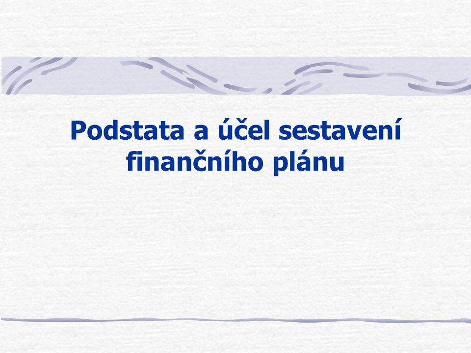 Podstata a účel sestavení finančního plánu