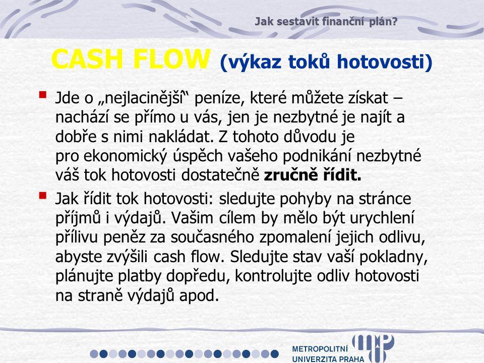 """Jak sestavit finanční plán? CASH FLOW (výkaz toků hotovosti)  Jde o """"nejlacinější"""" peníze, které můžete získat – nachází se přímo u vás, jen je nezby"""