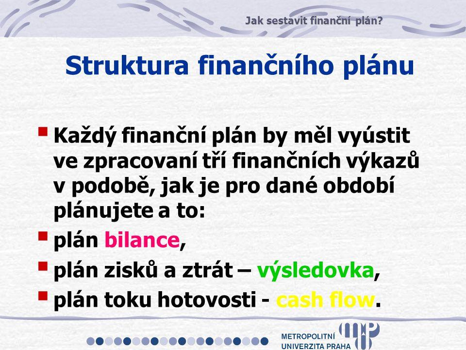 Jak sestavit finanční plán? Struktura finančního plánu  Každý finanční plán by měl vyústit ve zpracovaní tří finančních výkazů v podobě, jak je pro d