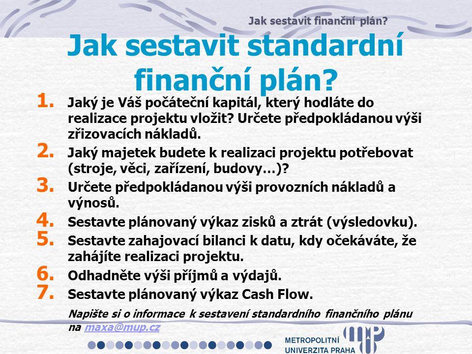 Jak sestavit finanční plán? Jak sestavit standardní finanční plán? 1. Jaký je Váš počáteční kapitál, který hodláte do realizace projektu vložit? Určet