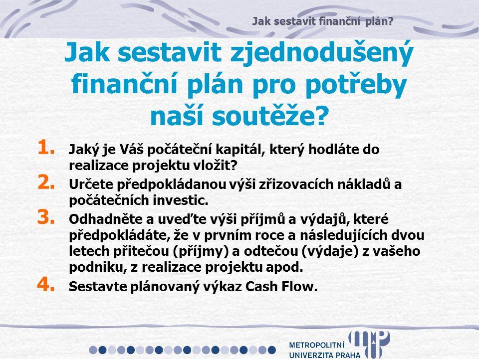 Jak sestavit finanční plán? Jak sestavit zjednodušený finanční plán pro potřeby naší soutěže? 1. Jaký je Váš počáteční kapitál, který hodláte do reali