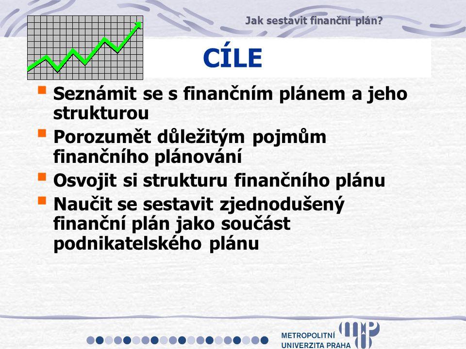 Jak sestavit finanční plán? CÍLE  Seznámit se s finančním plánem a jeho strukturou  Porozumět důležitým pojmům finančního plánování  Osvojit si str