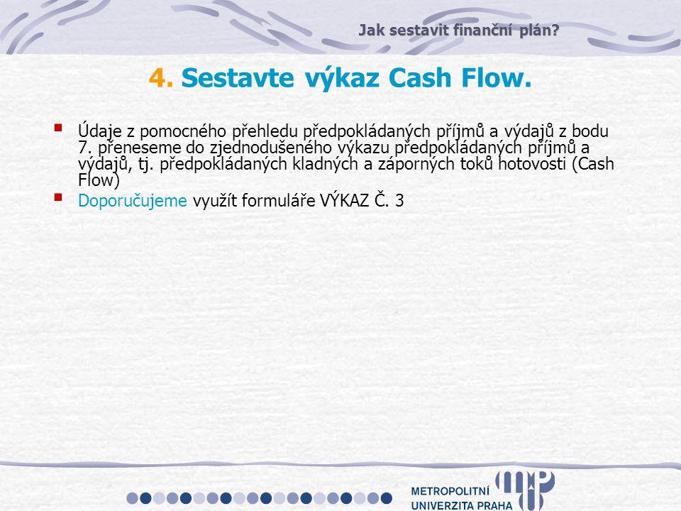 Jak sestavit finanční plán? 4. Sestavte výkaz Cash Flow.  Údaje z pomocného přehledu předpokládaných příjmů a výdajů z bodu 7. přeneseme do zjednoduš
