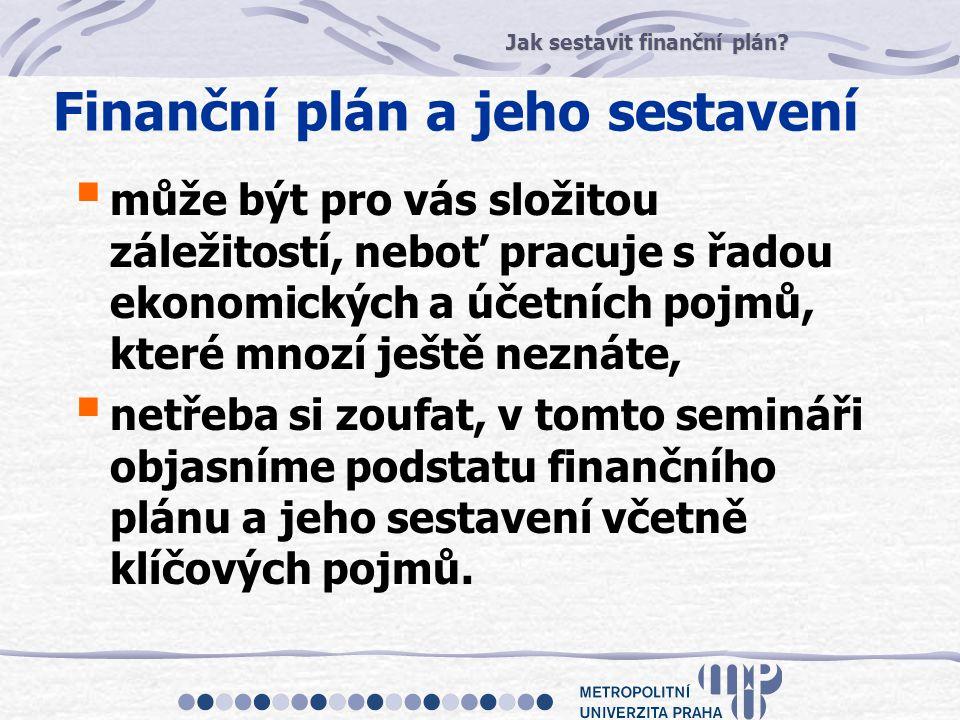 Jak sestavit finanční plán? Finanční plán a jeho sestavení  může být pro vás složitou záležitostí, neboť pracuje s řadou ekonomických a účetních pojm