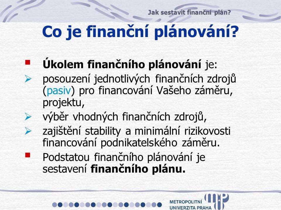 Jak sestavit finanční plán? Co je finanční plánování?  Úkolem finančního plánování je:  posouzení jednotlivých finančních zdrojů (pasiv) pro financo
