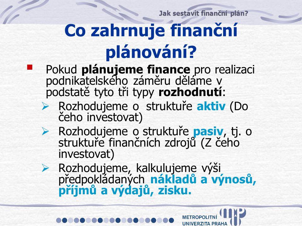 Jak sestavit finanční plán? Co zahrnuje finanční plánování?  Pokud plánujeme finance pro realizaci podnikatelského záměru děláme v podstatě tyto tři