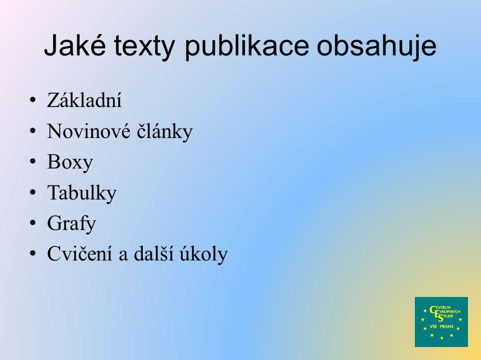 Jaké texty publikace obsahuje Základní Novinové články Boxy Tabulky Grafy Cvičení a další úkoly