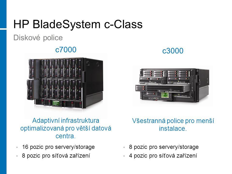HP BladeSystem c-Class Diskové police Adaptivní infrastruktura optimalizovaná pro větší datová centra.