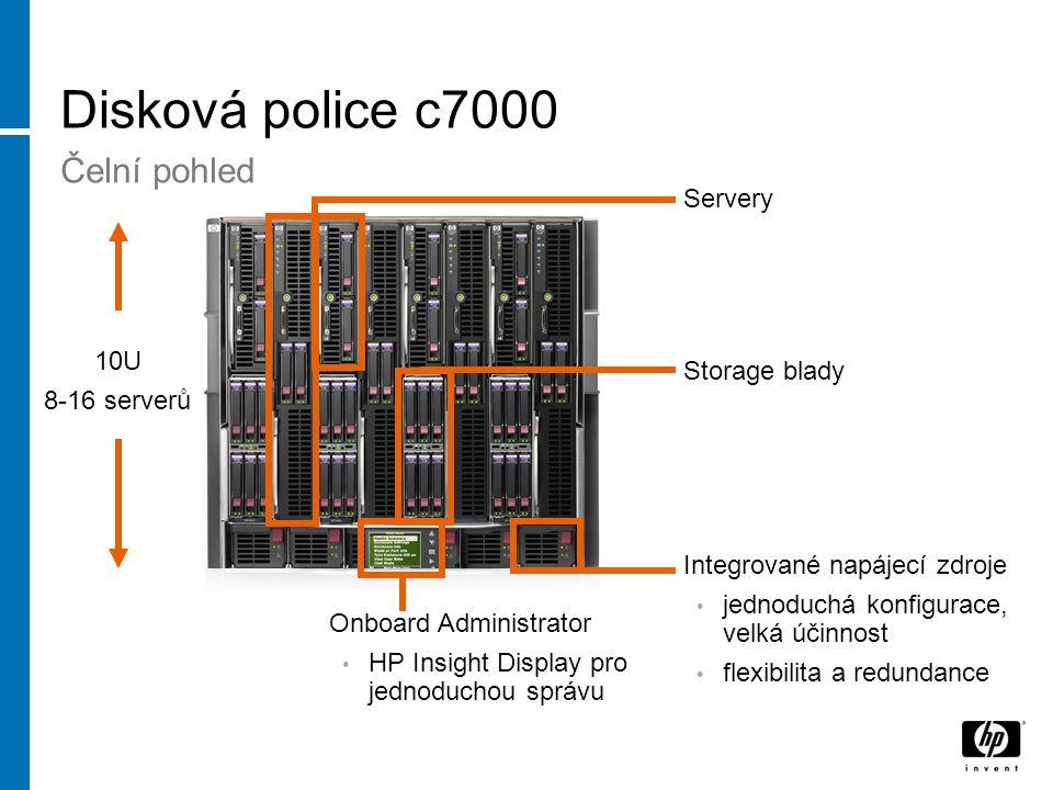 Disková police c7000 Čelní pohled Servery Storage blady Integrované napájecí zdroje jednoduchá konfigurace, velká účinnost flexibilita a redundance Onboard Administrator HP Insight Display pro jednoduchou správu 10U 8-16 serverů