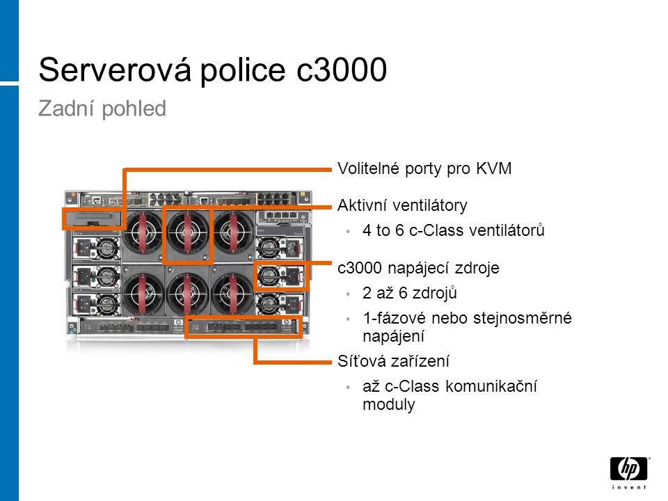 Serverová police c3000 Zadní pohled Aktivní ventilátory 4 to 6 c-Class ventilátorů c3000 napájecí zdroje 2 až 6 zdrojů 1-fázové nebo stejnosměrné napájení Volitelné porty pro KVM Síťová zařízení až c-Class komunikační moduly