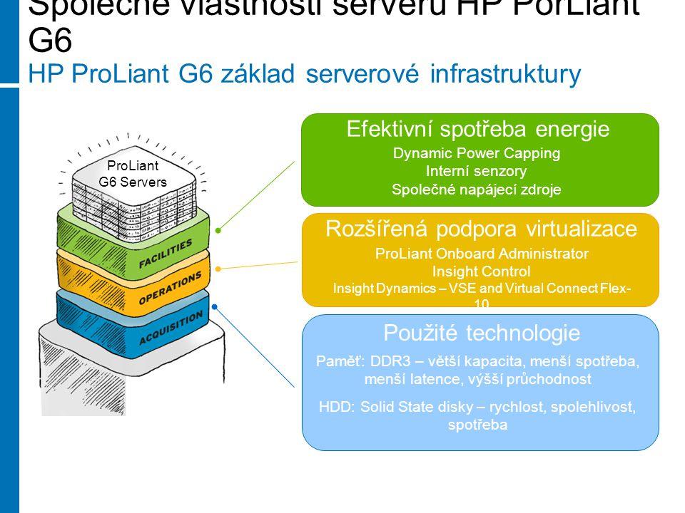 Společné vlastnosti serverů HP PorLiant G6 HP ProLiant G6 základ serverové infrastruktury Efektivní spotřeba energie Použité technologie ProLiant G6 Servers Dynamic Power Capping Interní senzory Společné napájecí zdroje Rozšířená podpora virtualizace ProLiant Onboard Administrator Insight Control Insight Dynamics – VSE and Virtual Connect Flex- 10 Paměť: DDR3 – větší kapacita, menší spotřeba, menší latence, výšší průchodnost HDD: Solid State disky – rychlost, spolehlivost, spotřeba