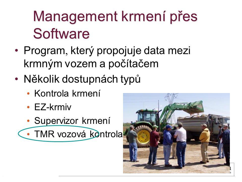 Management krmení přes Software Program, který propojuje data mezi krmným vozem a počítačem Několik dostupnách typů Kontrola krmení EZ-krmiv Supervizor krmení TMR vozová kontrola