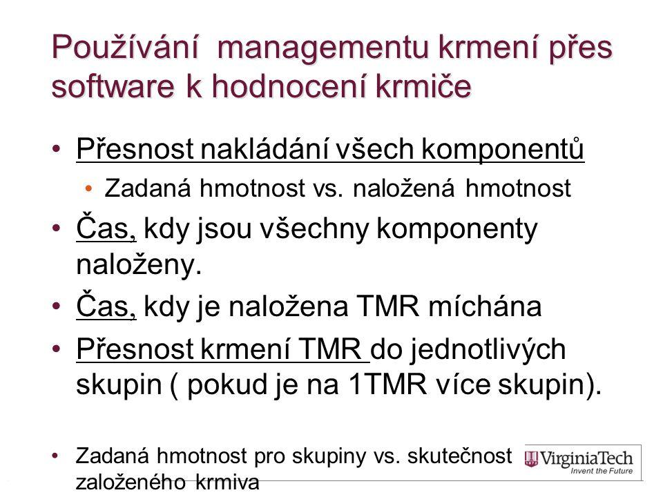 Používání managementu krmení přes software k hodnocení krmiče Přesnost nakládání všech komponentů Zadaná hmotnost vs.