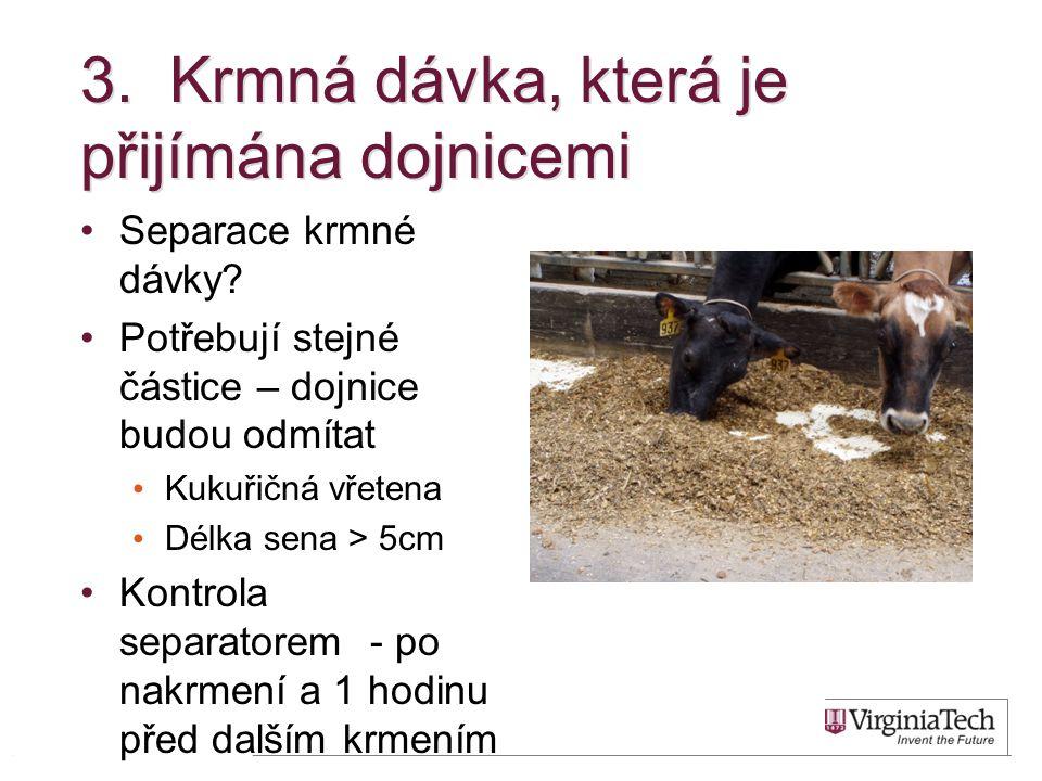 3.Krmná dávka, která je přijímána dojnicemi Separace krmné dávky.