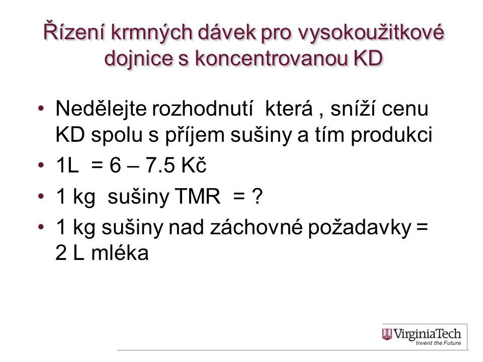 Řízení krmných dávek pro vysokoužitkové dojnice s koncentrovanou KD Nedělejte rozhodnutí která, sníží cenu KD spolu s příjem sušiny a tím produkci 1L = 6 – 7.5 Kč 1 kg sušiny TMR = .