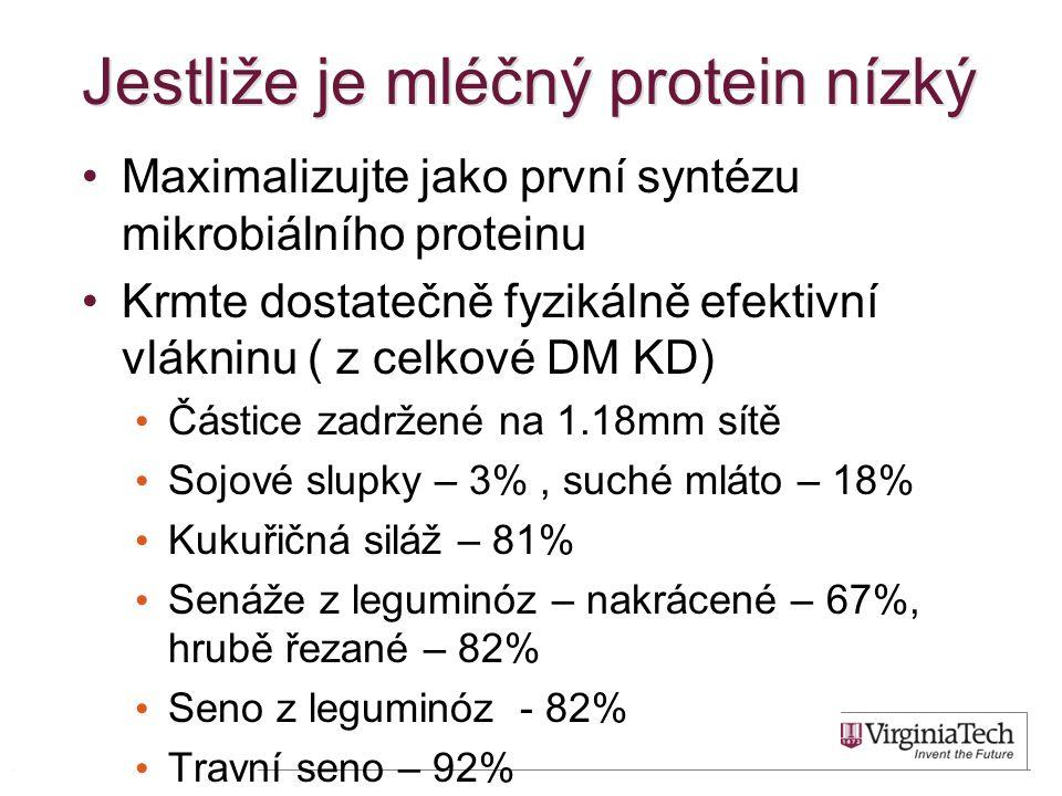 Jestliže je mléčný protein nízký Maximalizujte jako první syntézu mikrobiálního proteinu Krmte dostatečně fyzikálně efektivní vlákninu ( z celkové DM KD) Částice zadržené na 1.18mm sítě Sojové slupky – 3%, suché mláto – 18% Kukuřičná siláž – 81% Senáže z leguminóz – nakrácené – 67%, hrubě řezané – 82% Seno z leguminóz - 82% Travní seno – 92% 33