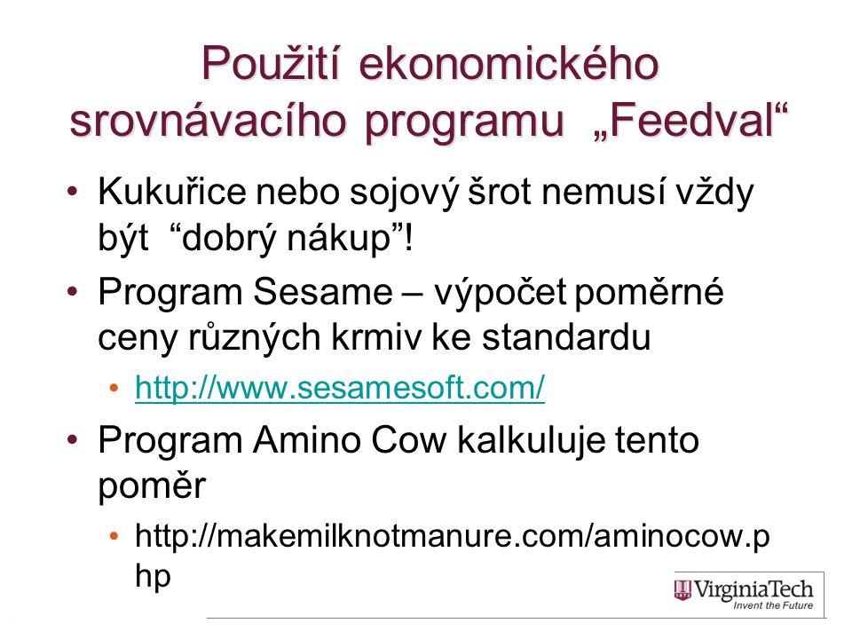 """Použití ekonomického srovnávacího programu """"Feedval Kukuřice nebo sojový šrot nemusí vždy být dobrý nákup ."""