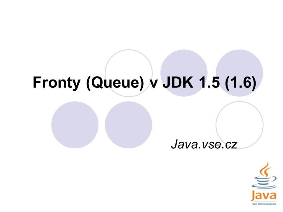 ArrayBlockingQueue Část výpisu pří použití ArrayBlockingQueue s parametrem 10: velikost fronty: 5 přidá:9 velikost fronty: 6 přidá:18 velikost fronty: 7 přidá:7 velikost fronty: 8 přidá:13 velikost fronty: 9 přidá:21 velikost fronty: 10 veme:18 velikost fronty: 9 veme:20 velikost fronty: 8 veme:19 velikost fronty: 7 Maximální velikost fronty je 10.