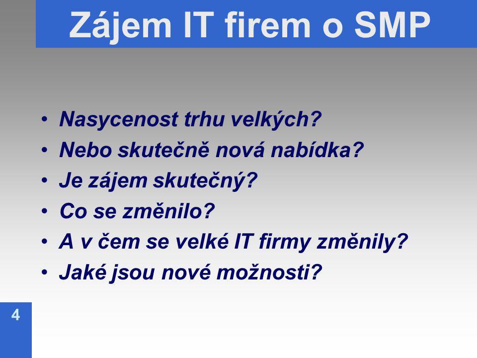 4 Zájem IT firem o SMP Nasycenost trhu velkých. Nebo skutečně nová nabídka.