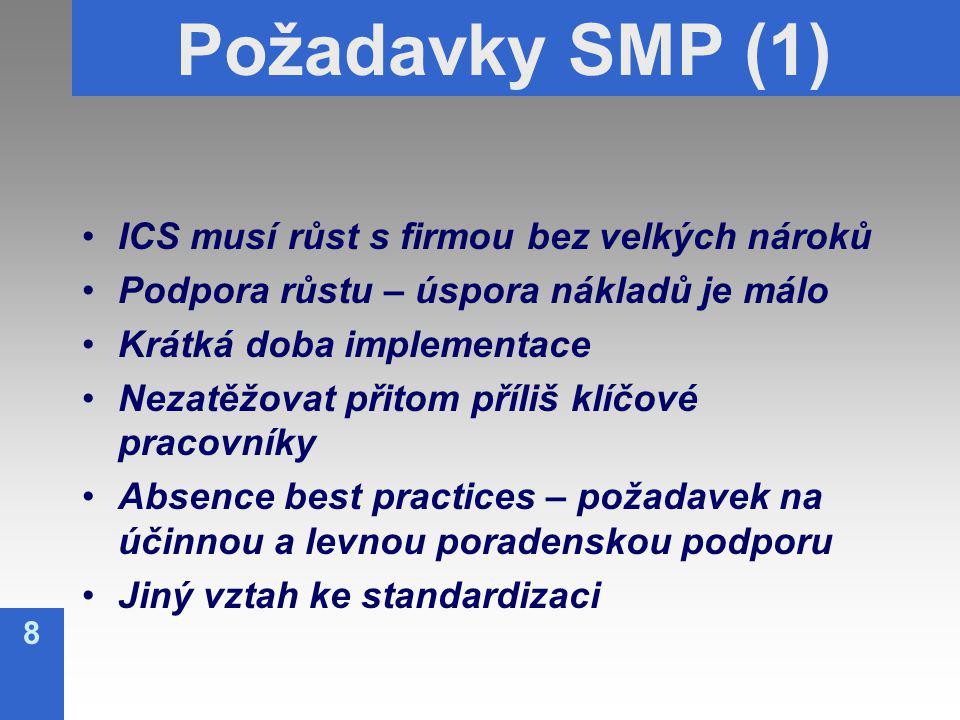 8 Požadavky SMP (1) ICS musí růst s firmou bez velkých nároků Podpora růstu – úspora nákladů je málo Krátká doba implementace Nezatěžovat přitom příliš klíčové pracovníky Absence best practices – požadavek na účinnou a levnou poradenskou podporu Jiný vztah ke standardizaci