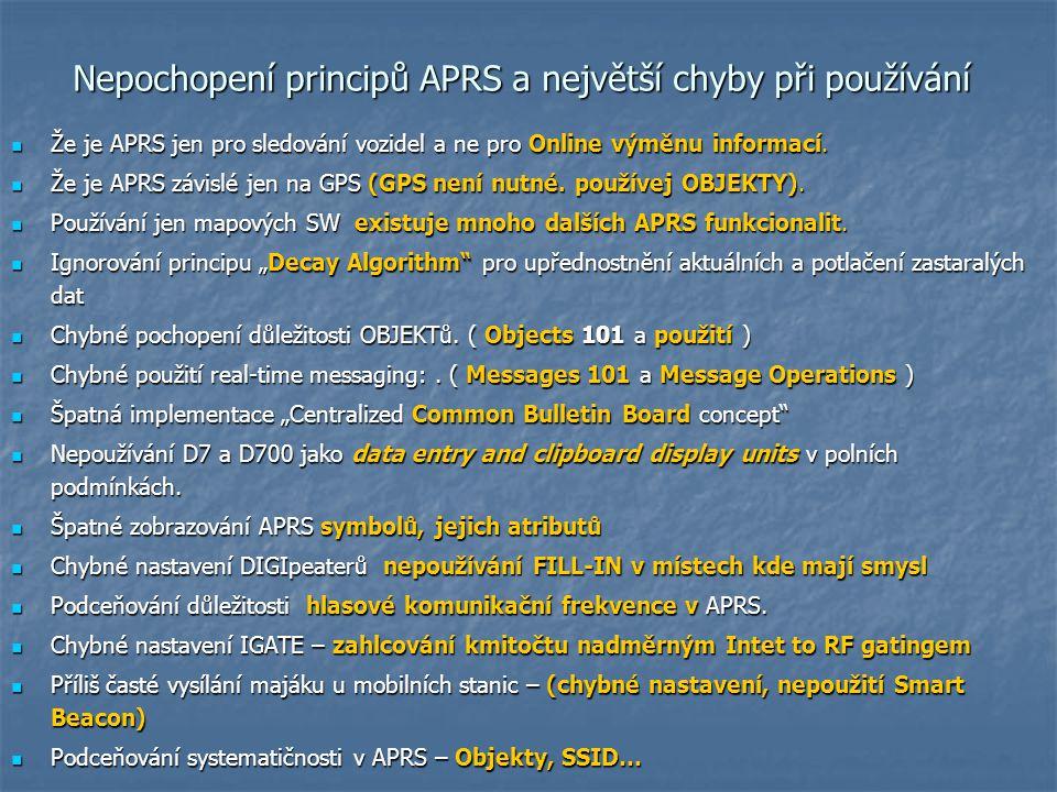 Nepochopení principů APRS a největší chyby při používání Nepochopení principů APRS a největší chyby při používání Že je APRS jen pro sledování vozidel
