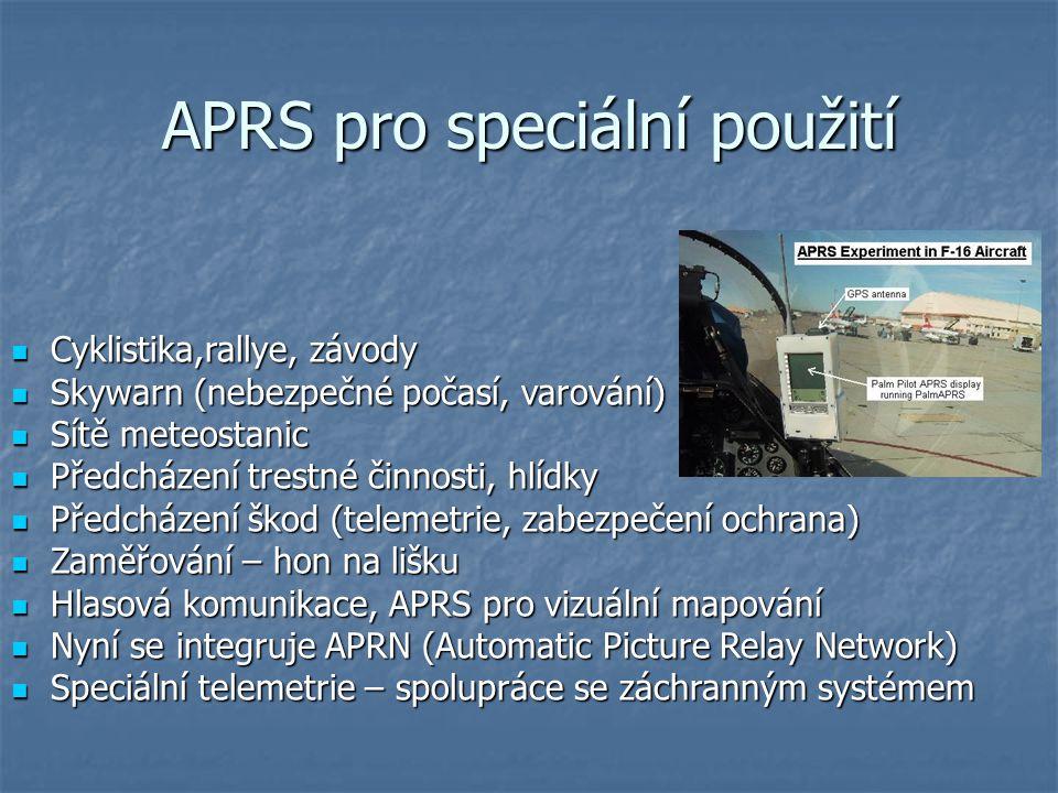 APRS pro speciální použití Cyklistika,rallye, závody Cyklistika,rallye, závody Skywarn (nebezpečné počasí, varování) Skywarn (nebezpečné počasí, varov