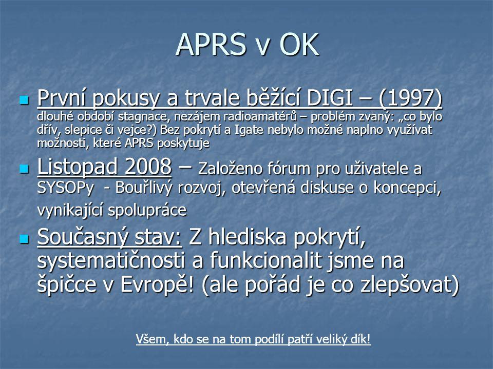 """APRS v OK První pokusy a trvale běžící DIGI – (1997) dlouhé období stagnace, nezájem radioamatérů – problém zvaný: """"co bylo dřív, slepice či vejce?) B"""