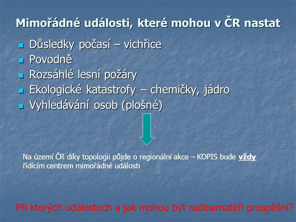 Mimořádné události, které mohou v ČR nastat Důsledky počasí – vichřice Důsledky počasí – vichřice Povodně Povodně Rozsáhlé lesní požáry Rozsáhlé lesní