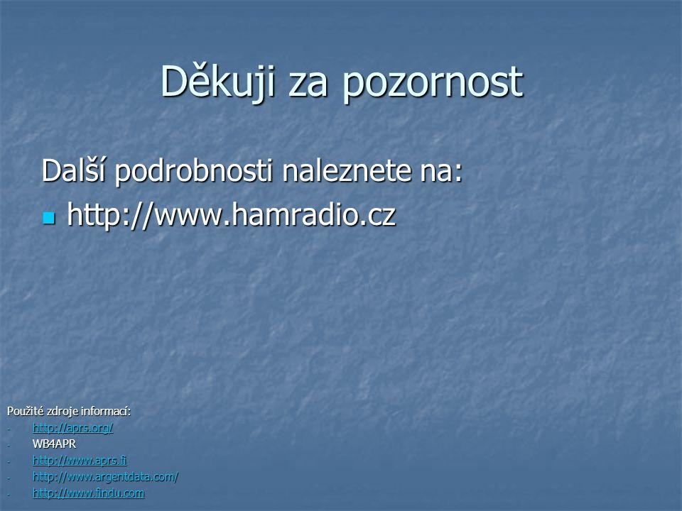Děkuji za pozornost Další podrobnosti naleznete na: http://www.hamradio.cz http://www.hamradio.cz Použité zdroje informací: - http://aprs.org/ http://