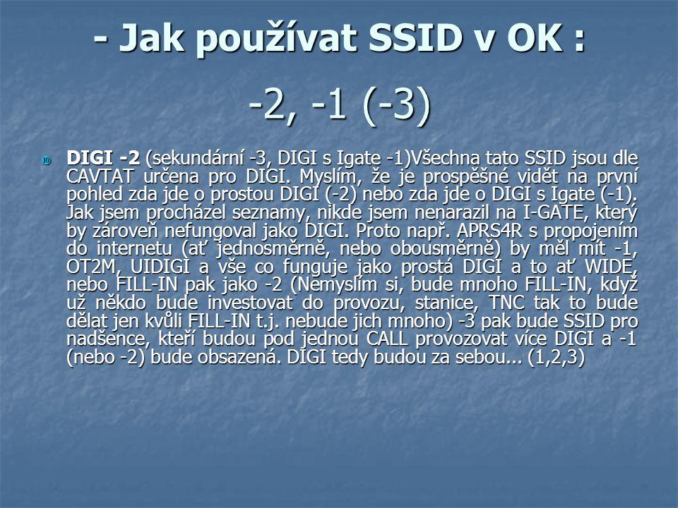 - Jak používat SSID v OK :  DIGI -2 (sekundární -3, DIGI s Igate -1)Všechna tato SSID jsou dle CAVTAT určena pro DIGI. Myslím, že je prospěšné vidět