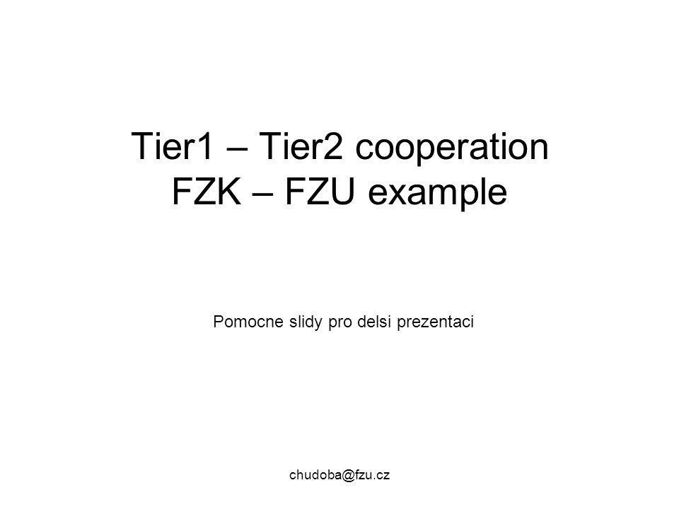 chudoba@fzu.cz Tier1 – Tier2 cooperation FZK – FZU example Pomocne slidy pro delsi prezentaci