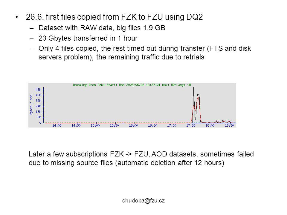chudoba@fzu.cz 26.6. first files copied from FZK to FZU using DQ2 –Dataset with RAW data, big files 1.9 GB –23 Gbytes transferred in 1 hour –Only 4 fi