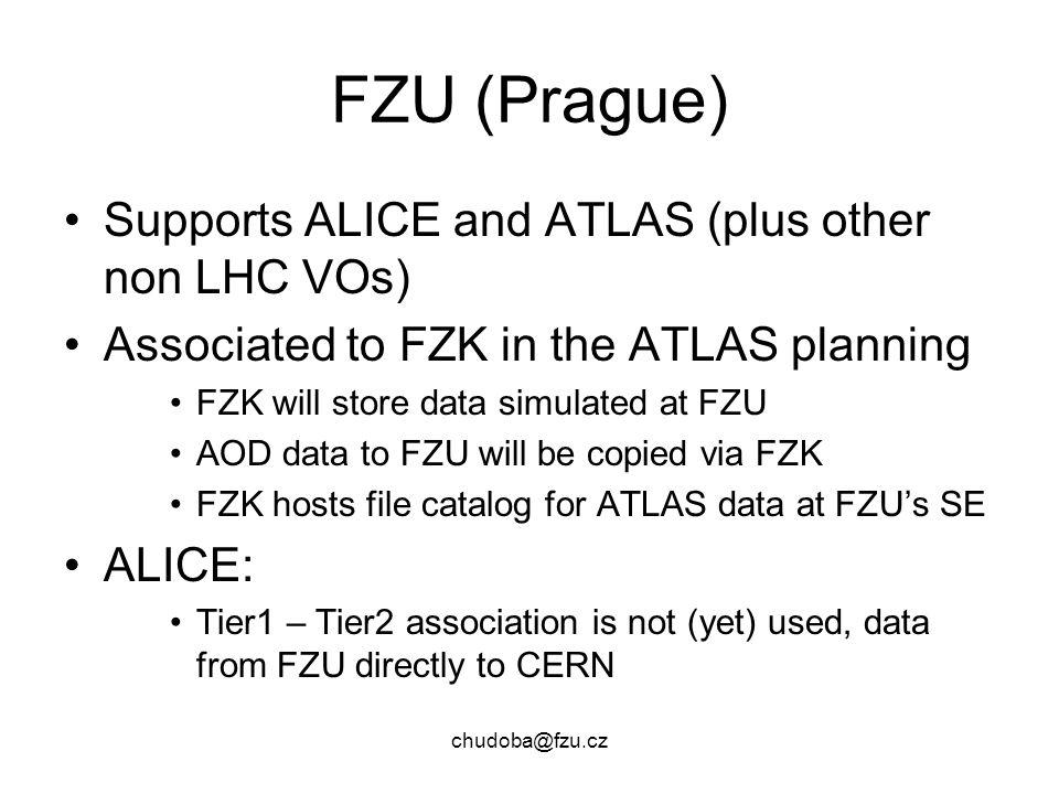 chudoba@fzu.cz FZU (Prague) Supports ALICE and ATLAS (plus other non LHC VOs) Associated to FZK in the ATLAS planning FZK will store data simulated at FZU AOD data to FZU will be copied via FZK FZK hosts file catalog for ATLAS data at FZU's SE ALICE: Tier1 – Tier2 association is not (yet) used, data from FZU directly to CERN