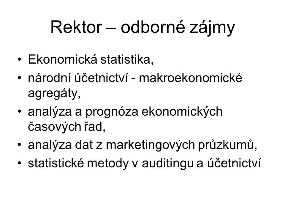 Rektor – odborné zájmy Ekonomická statistika, národní účetnictví - makroekonomické agregáty, analýza a prognóza ekonomických časových řad, analýza dat z marketingových průzkumů, statistické metody v auditingu a účetnictví