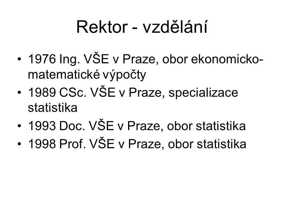 Rektor - vzdělání 1976 Ing. VŠE v Praze, obor ekonomicko- matematické výpočty 1989 CSc. VŠE v Praze, specializace statistika 1993 Doc. VŠE v Praze, ob