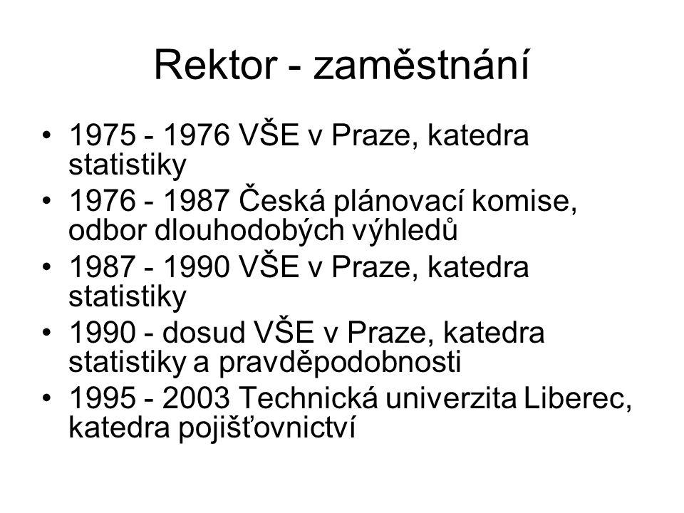Rektor - zaměstnání 1975 - 1976 VŠE v Praze, katedra statistiky 1976 - 1987 Česká plánovací komise, odbor dlouhodobých výhledů 1987 - 1990 VŠE v Praze