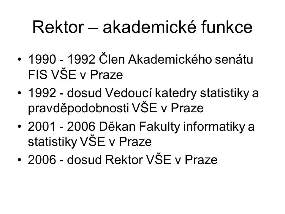 Rektor – akademické funkce 1990 - 1992 Člen Akademického senátu FIS VŠE v Praze 1992 - dosud Vedoucí katedry statistiky a pravděpodobnosti VŠE v Praze