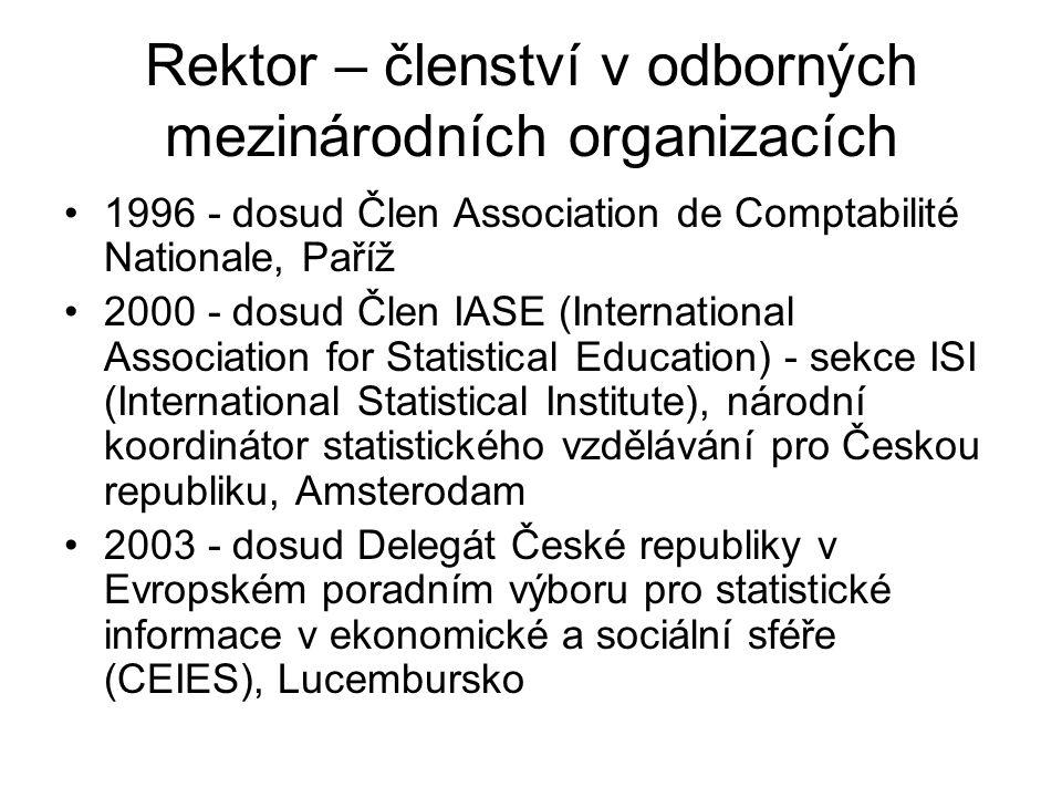 Rektor – členství v odborných mezinárodních organizacích 1996 - dosud Člen Association de Comptabilité Nationale, Paříž 2000 - dosud Člen IASE (International Association for Statistical Education) - sekce ISI (International Statistical Institute), národní koordinátor statistického vzdělávání pro Českou republiku, Amsterodam 2003 - dosud Delegát České republiky v Evropském poradním výboru pro statistické informace v ekonomické a sociální sféře (CEIES), Lucembursko