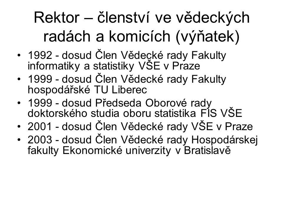 Rektor – členství ve vědeckých radách a komicích (výňatek) 1992 - dosud Člen Vědecké rady Fakulty informatiky a statistiky VŠE v Praze 1999 - dosud Čl