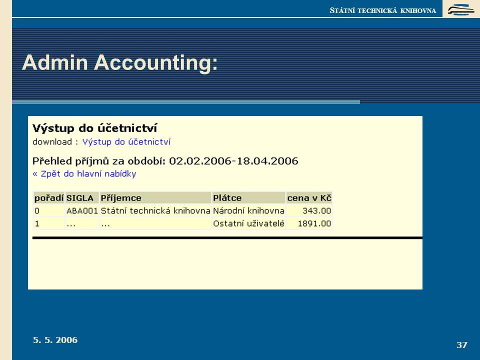 S TÁTNÍ TECHNICKÁ KNIHOVNA 5. 5. 2006 37 Admin Accounting: