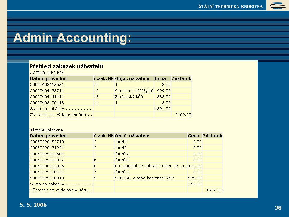 S TÁTNÍ TECHNICKÁ KNIHOVNA 5. 5. 2006 38 Admin Accounting: