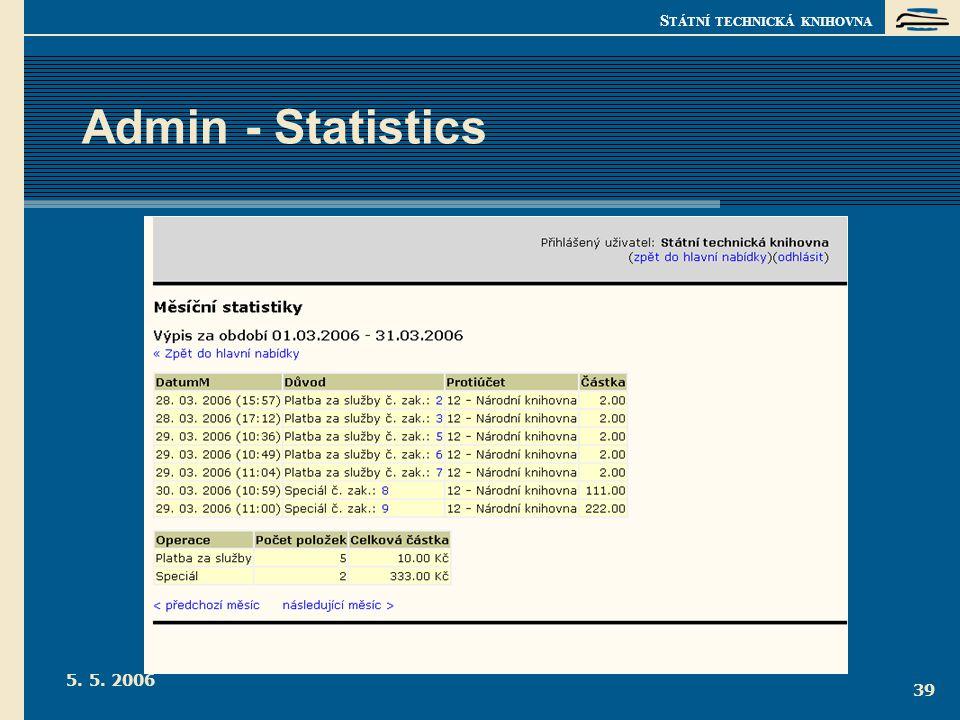 S TÁTNÍ TECHNICKÁ KNIHOVNA 5. 5. 2006 39 Admin - Statistics