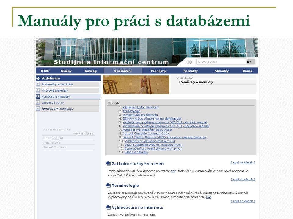 Manuály pro práci s databázemi